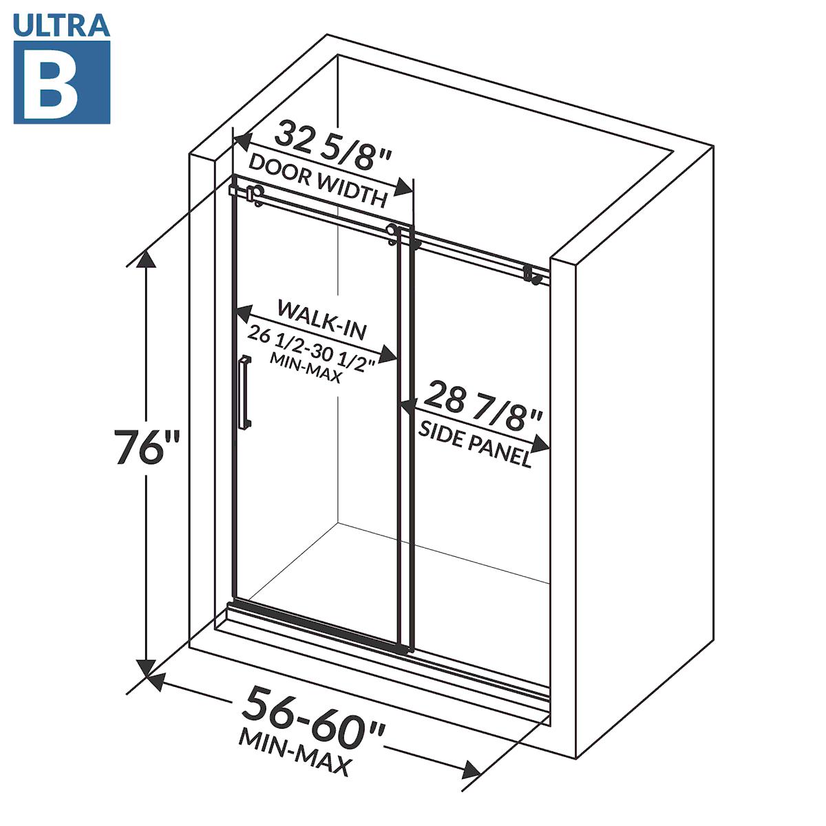 Shower Door Frameless 56 60 W X 76 H Ultra B Brushed