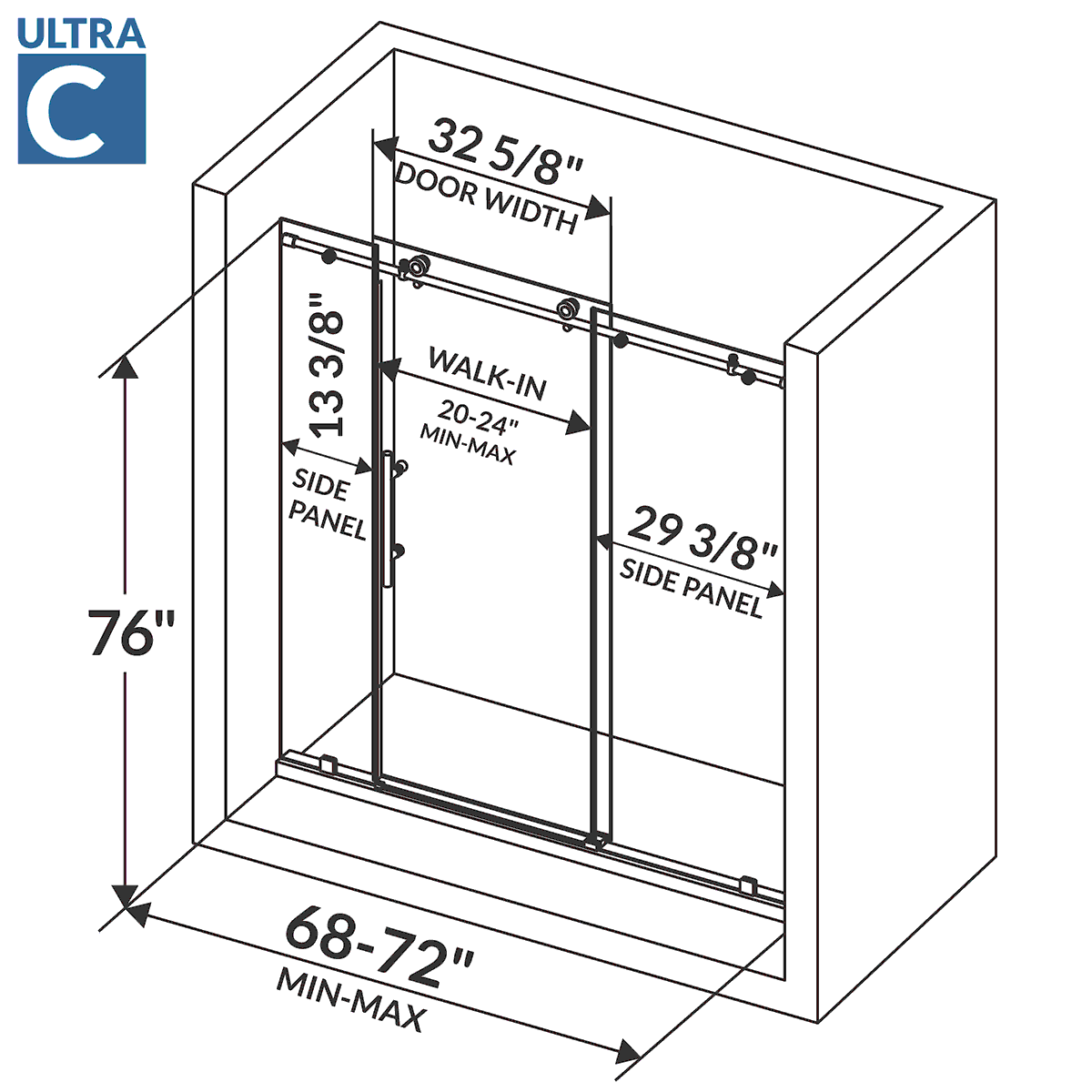 Lesscare clear glass shower door ultra b 44 48 wide x 76 high chrome - Dimensions
